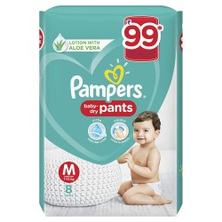 PAMPERS BABY DRY M 7-12KG 8PC