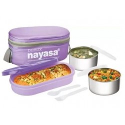 NAYASA duplex deluxe steel 3 Containers Lunch Box  (750 ml)